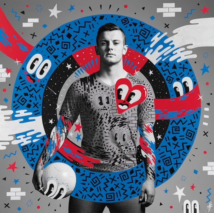 "Artwork of Jack Wilshere created by English artist Hattie Stewart, who was one of the six street artists commissioned by Pepsi as part of the brand's ""The Art of Football"" collection. #FutbolNow Credit: PepsiCo"