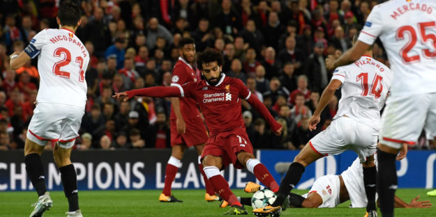 LIVERPOOL, ENGLAND - SEPTEMBER 13: Mohamed Salah of Liverpool scores his sides second goal during the UEFA Champions League group E match between Liverpool FC and Sevilla FC at Anfield on September 13, 2017 in Liverpool, United Kingdom.  (Photo by Stu Forster/Getty Images)