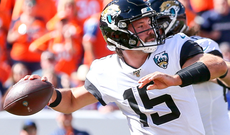 DENVER, CO - SEPTEMBER 29: Jacksonville Jaguars quarterback Gardner Minshew II attempts a pass during a NFL game between the Jacksonville Jaguars and the Denver Broncos on September 29, 2019 at Broncos Stadium at Mile High in Denver, CO. (Photo by Steve Nurenberg/Icon Sportswire via Getty Images)